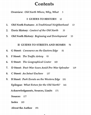 Old North Davis Table of Contents