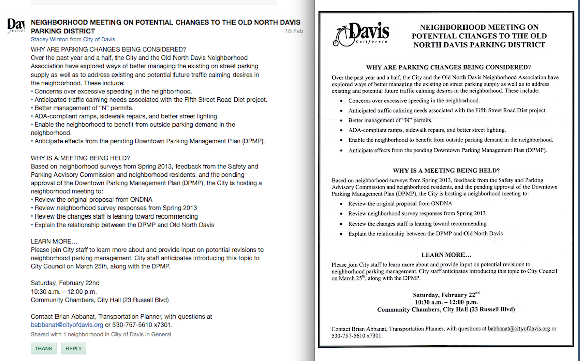 """February 22 (a Saturday). """"ONDNA"""" Does Not Promote City-conducted Meeting on """"Potential Changes in the Old North Davis Parking District"""""""